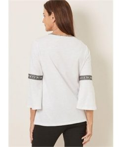 3/4 Sleeve Embroidered Peasant Top