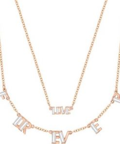 Admiration Forever Necklace Set, White, Rose gold plating