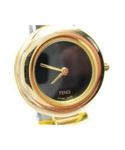Auth Fendi 320L Gold Dial Date Leather Band Women's Watch