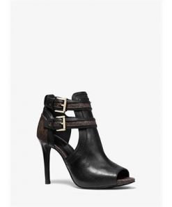 Blaze Leather And Logo Open-Toe Bootie