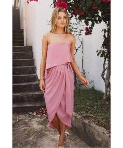 Fleur Strapless Dress - Dusty Pink