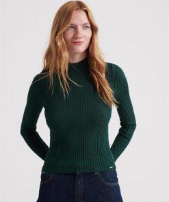 Annie Skinny Rib Jumper Emerald Green