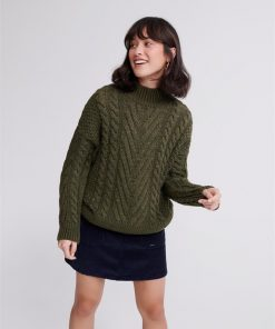 Dallas Chunky Cable Knit Army Khaki
