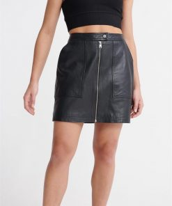 Edit Cassidy Leather Skirt Manor House Black
