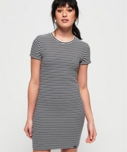 Evie Textured Tee Dress Eclipse Navy/Ecru