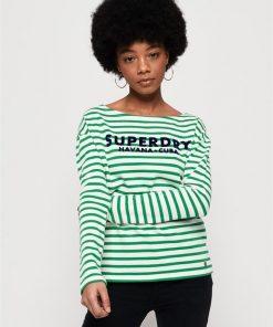 Havana Long Sleeve Top Apple Green Stripe