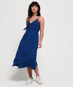 Jayde Tie Front Midi Dress Nautical Blue