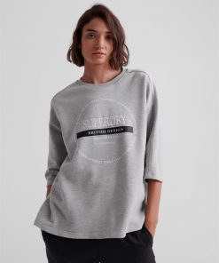 Oversized Scandi Graphic Top Grey Marle