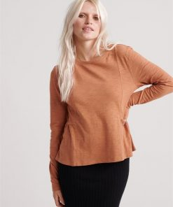 Peplum Rodeo Ls Top Burnt Camel