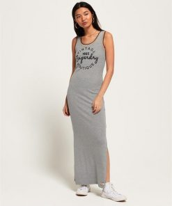 Rainbow Rib Maxi Dress Pebble Grey