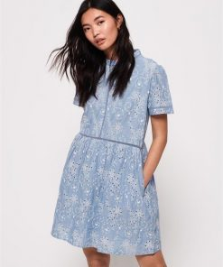 Shelly Schiffli Dress Pale Blue Chambray
