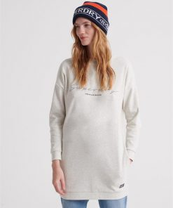 V Crew Graphic Sweat Dress Cloudy Marle