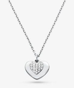 MK Precious Metal-Plated Sterling Silver Pavé Heart Necklace - Silver - Michael Kors