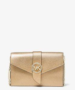 MK Medium Metallic Saffiano Leather Convertible Crossbody Bag - Pale Gold - Michael Kors